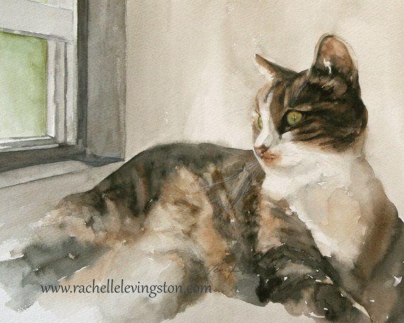 Aquarell Katze malen Katze PRINT Kunst Katze von rachellelevingston, $16.00