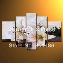 Ücretsiz kargo! Çağdaş nazik zambak yağlıboya büyük handpainted beyaz çiçekler duvar sanatı 5 paneller dekor çerçevesiz(China (Mainland))
