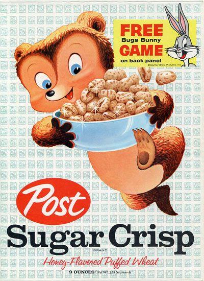 Post Sugar Crisp Cereal 1962Sugar Bears, Post Sugar, Vintage Advertis, Sugar Crisps, Cereal Boxes, Boxes Art, Vintage Ads, Photos Shared, Crisps Cereal