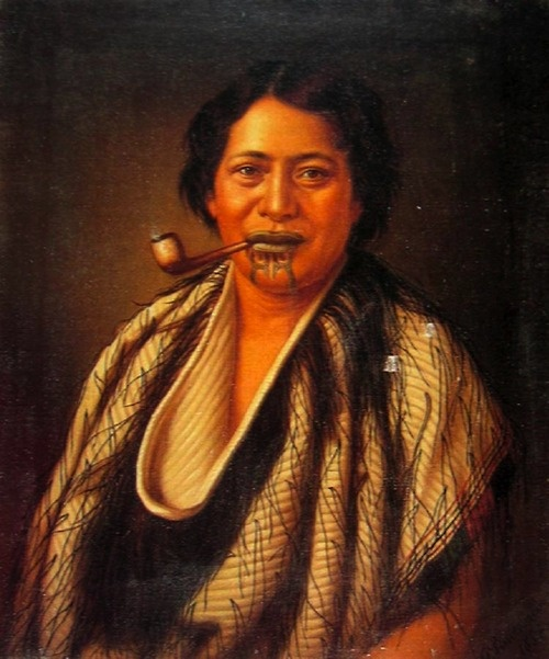 A Maori Woman Smoking a Pipe.  Oil on canvas, unframed, 68 x 56 cm. Gorgeous picture, and she has a Tā moko. I know my Kiwis. I love my Kiwis :)