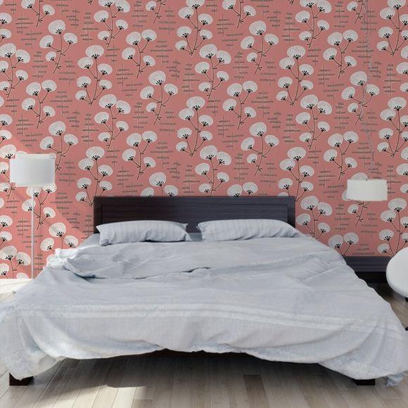 Papier peint rose cotonnier style japonisant – MissPrint – Au fil des Couleurs