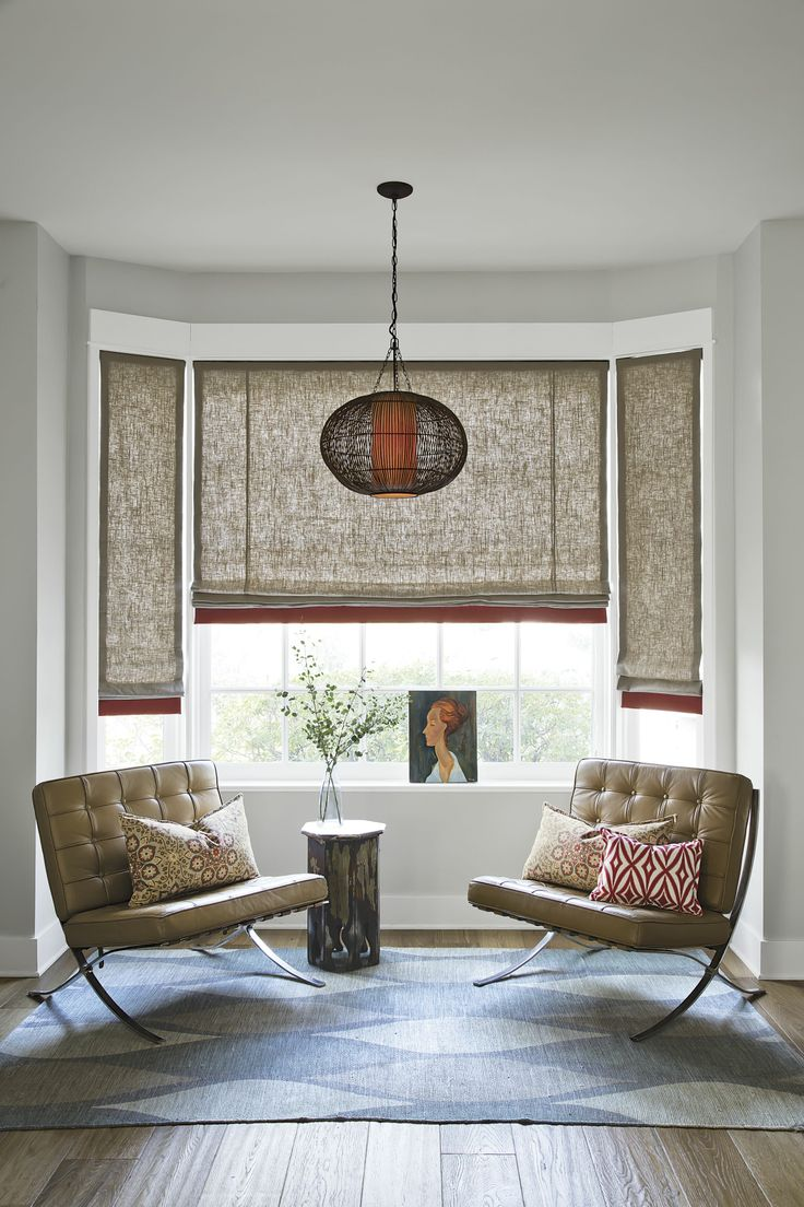 Bay Window Curtains Living Room Roman Shades
