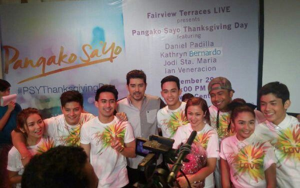 """This is the pretty Kathryn Bernardo and the handsome Daniel Padilla with the cast of """"Pangako Sa 'Yo"""" smiling for the camera after the Pangako Sa 'Yo Thanksgiving Day held at Ayala Fairview Terraces last November 29. Indeed, KathNiel and the cast of """"Pangako Sa 'Yo"""" are grateful to the fans. #KathrynBernardo #TeenQueen #DanielPadilla #KathNiel #KathNielBernaDilla #PangakoSaYo #PSYThanksgivingDay"""