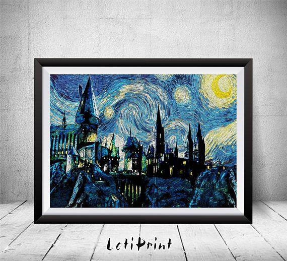 Harry Potter Starry Night Print Harry Potter Print Wand