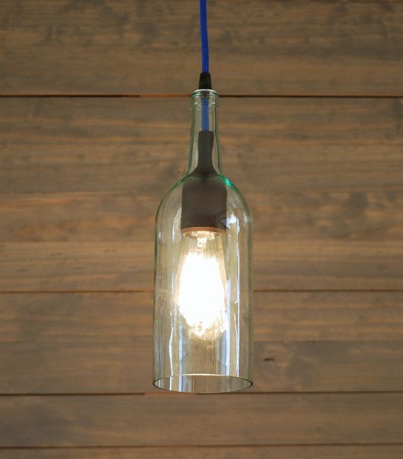 upcycled clear wine bottle pendant light with cobalt blue cord and black sili. Black Bedroom Furniture Sets. Home Design Ideas