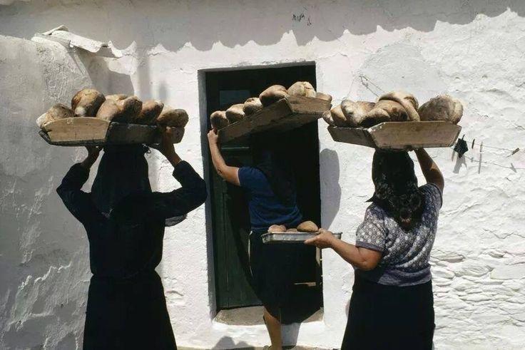 Alentejo- cozedura do pão no forno de padaria era um costume antigo.