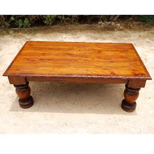 Rustic Wood Large Sofa Occasional Cocktail Bun Feet Coffee Table