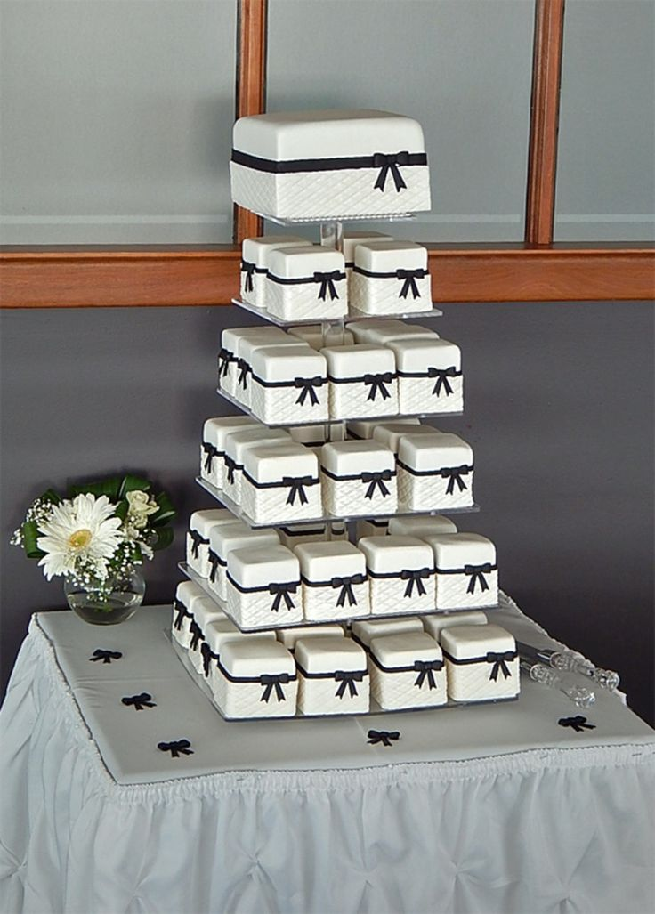 Black and White Elegant Mini Cake Wedding Tower - by Sweet Fascinations.
