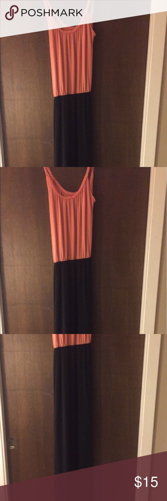 Charming Charlie Coral Maxi Dress Never worn super comfy maxi dress. This stretchy coral Charming Charlie dress is a great summer dress to be worn anywhere. Charming Charlie Dresses Maxi