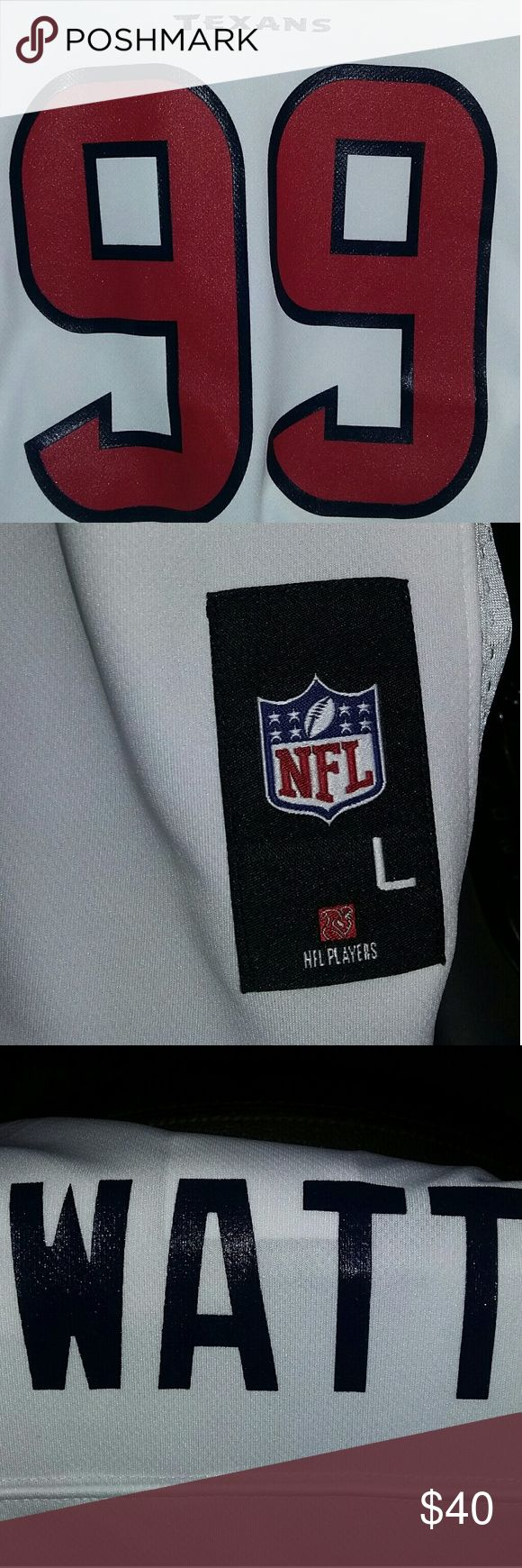 New HOUSTON TEXAS NFL JERSEY LARGE NWT. WHITE red blue letters.  Player Watt #99 Shirts & Tops Tees - Short Sleeve