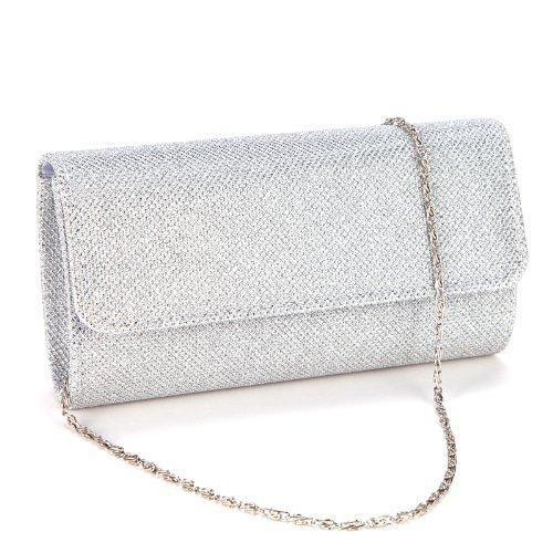 Oferta: 13.18€. Comprar Ofertas de Anladia@ Cartera de Fiesta con Glitter tartan Bolso de Mano con cadena 120cm Color Plateado barato. ¡Mira las ofertas!