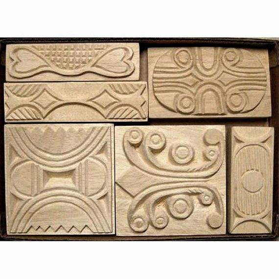Oshiwa carved wood printing stamp set tribal designs