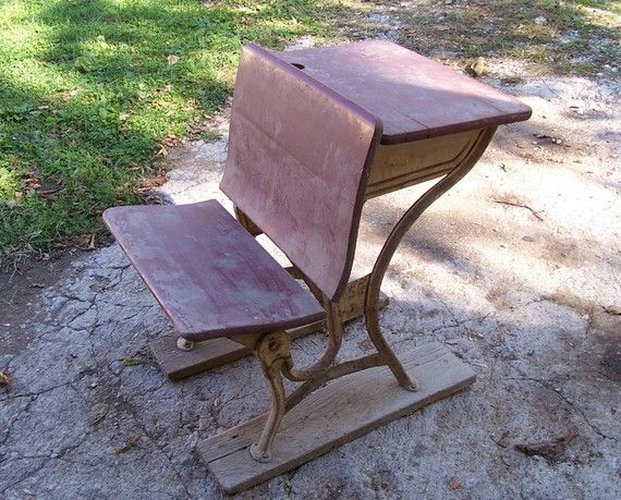 Antique School Desk Bench Chair...Store Wide Sale, Use Coupon Code-  krypt15, to Receive 15% Off Your Purchase - 16 Best Old School Desks Images On Pinterest Old School Desks