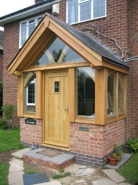 Oak porch with slight overhang.