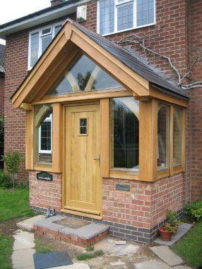 Oak porch with slight overhang.