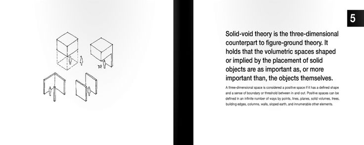 5 | Solid-void theory is the three-dimensional counterpart to figure-ground theory. It holds that the volumetric spaces shaped or implied by the placement of solid objects are as important as, or more important than, the objects themselves.