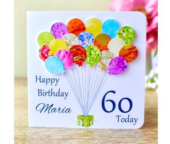 60th Birthday Card Personalised Age 60 Birthday Balloons Etsy Birthday Card Craft 70th Birthday Card Handmade Birthday Cards