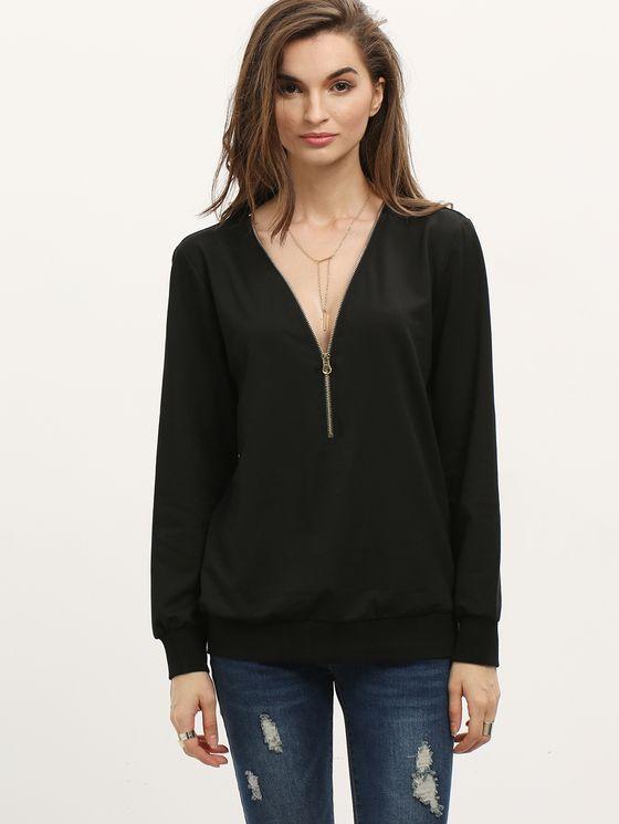 Black Zipper V Neck Plain Sweatshirt | MakeMeChic.COM Mobile Site