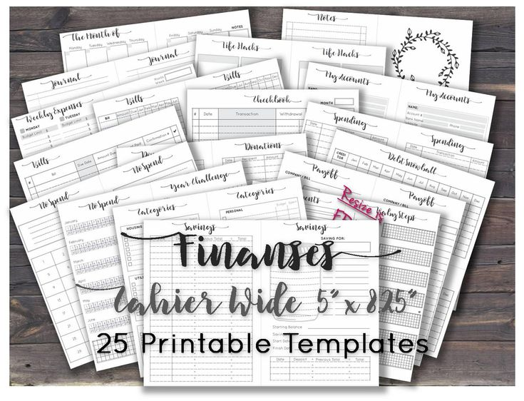 Wide travelers notebook inserts budget planner financial expense tracker for tn traveler's notebook sheets printable _ Re-size is FREE