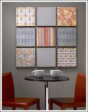 This budget decorating idea is from CraftsnCoffee.com This DIY wall art project uses scrapbook paper! The paper is mounted on a sheet of Styrofoam Brand foam board.