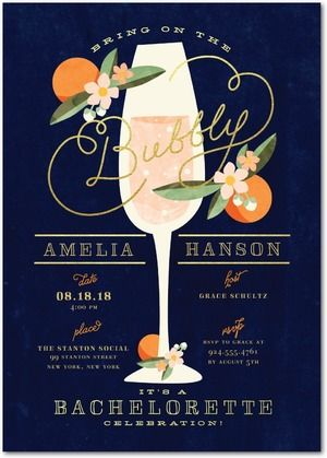 Bring on the bubbly! Champagne is the perfect way to start your bachelorette party. Shop stylish bachelorette party invitations today.