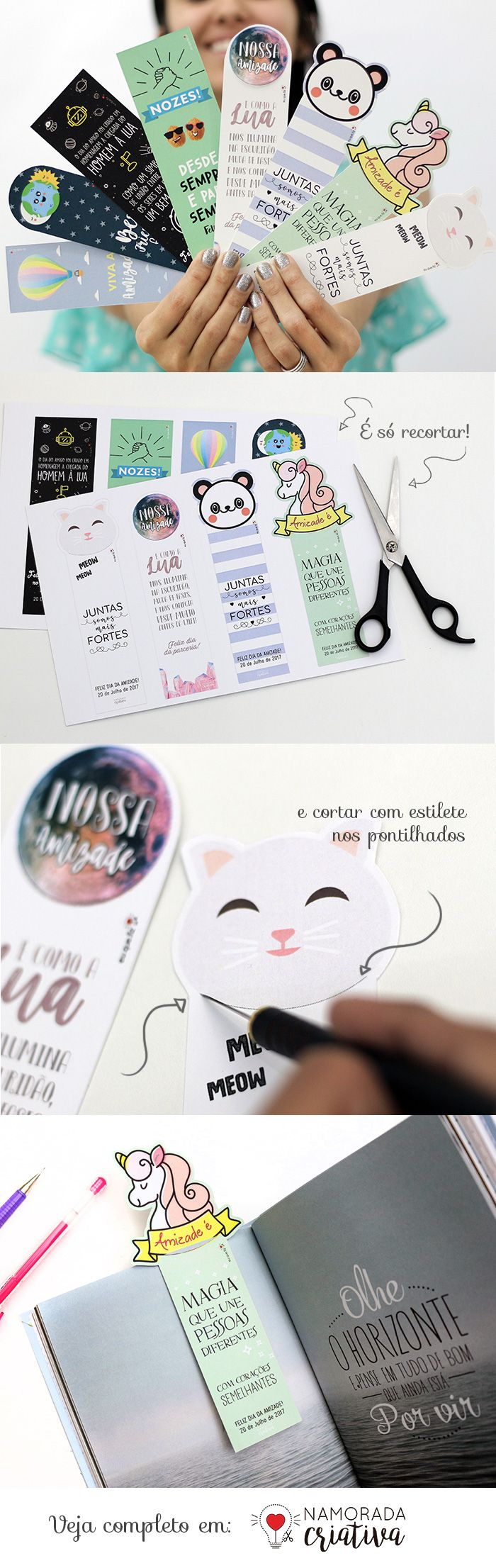 Cute bookmarks to DIY | by www.namoradacriativa.com