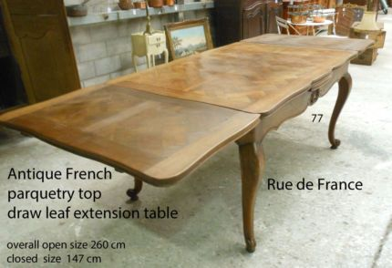 ANTIQUE FRENCH PARQUETRY TOP PROVINCIAL DINING TABLE