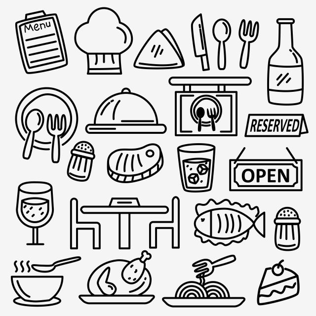 Set Of Restaurant Doodle Vector Illustration With Black And White Hand Drawn Style Doodle Clipart Restaurant Food Png And Vector With Transparent Background How To Draw Hands Black And White