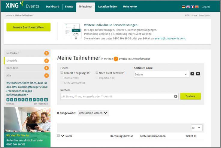 XING TicketingManager: Teilnehmer über alle Events hinweg suchen