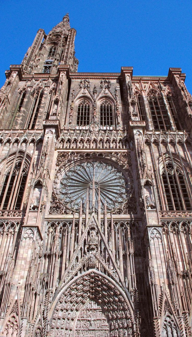The stunning façade of Strasbourg Cathedral, France.  #Strasbourg #France #Alsace #GrandEst #MonGrandEst #FrenchMoments #cathedral #cathédrale