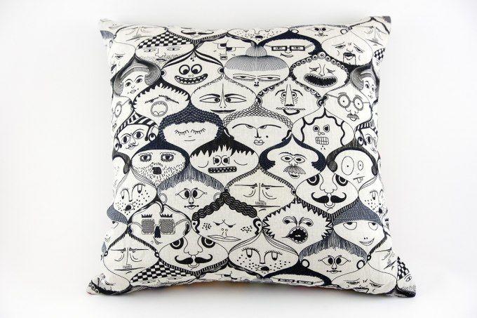 Faces Pillow by Jain&Kriz. 100% linen.
