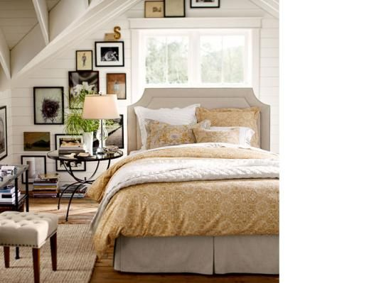Bedroom Design Inspiration & Bedroom Décor Inspiration | Pottery Barn  LOVE THIS!! The painted wood walls, the black frames and the wall art design.