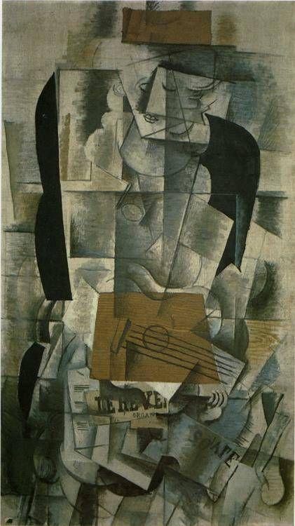 """""""Mujer con guitarra"""" Realizada en  1913, es unóleo y carboncillo sobre lienzo pintado por Georges Braque. Esta obra pertenece a las Vanguardias del siglo XX, concretamente al cubismo analítico.  Segmenta el objeto representado en varios planos y luego los une bajo distintos puntos de vista. Predomina el color frío y apagado."""