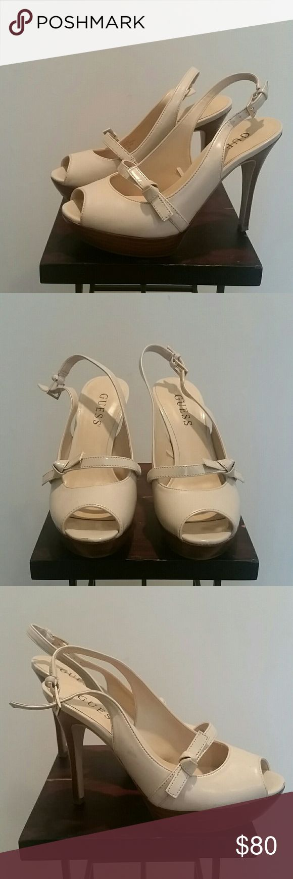 Nude heels Guess nude, open back strap heels, peep toe, thick front bottom. Worn a couple times, practically brand new. Size 5. GUESS Shoes Heels