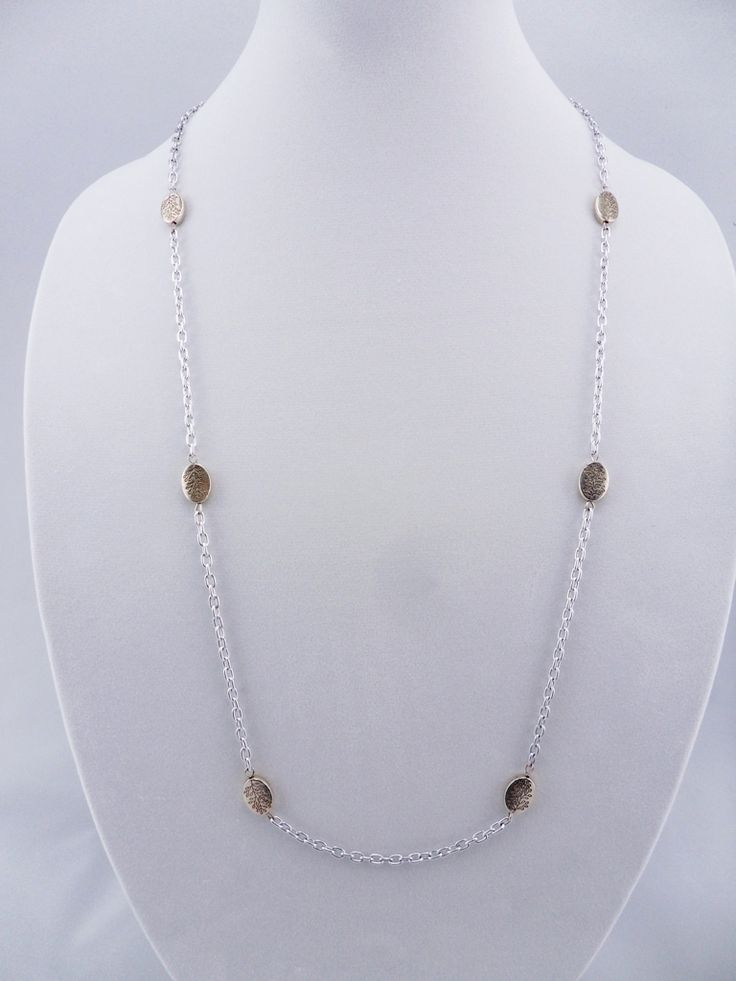 """Tibetan Leaf Long Stainless Steel Chain Necklace 33"""""""