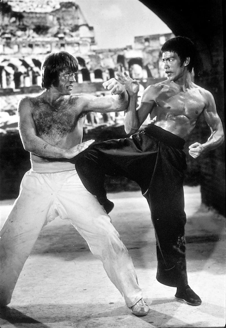 "Bruce Lee & Chuck Norris en ""Meng long guo jiang"" (El furor del Dragón - Way «Return» of the Dragon), 1972."