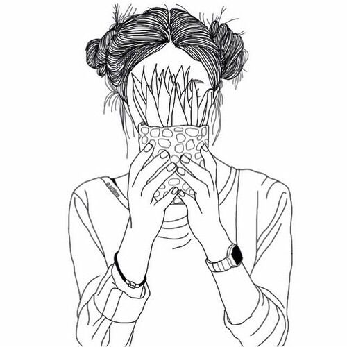 Image via We Heart It https://weheartit.com/entry/175605674 #art #black #draw #drawing #grunge #hair #hands #outline #plant #plants #white