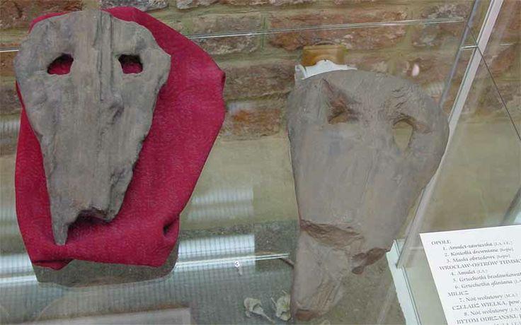 Maski z Opola // ancient Slavic ritual masks unearthed in Opole, Poland.