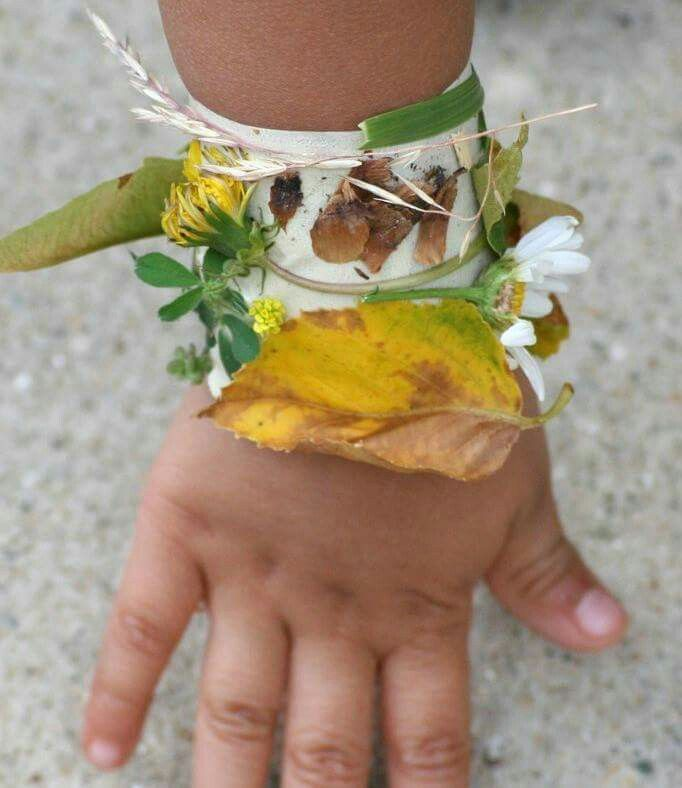 Sticky tape bracelet to wear on a nature walk! Add as you go along!