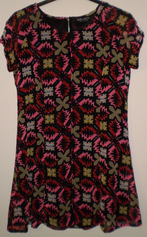 Select Multi Coloured Funky Pattern Party Evening Cruise Dress Size 14