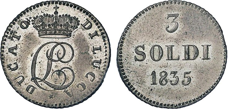 NumisBids: Nomisma Spa Auction 50, Lot 114 : LUCCA Carlo Ludovico di Borbone (1824-1847) 3 Soldi 1835 - Pag. 269;...