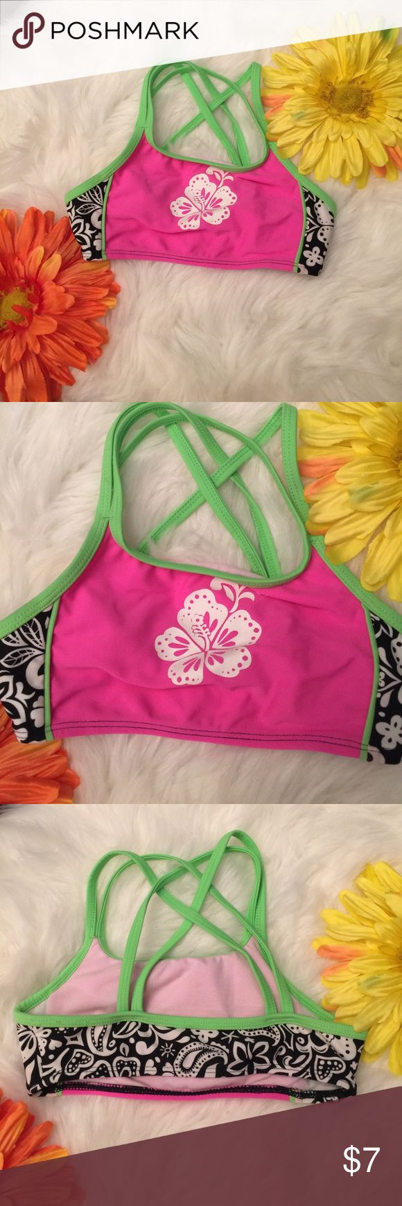 Girls bikini top Cute girls bikini top! Vibrant colors and so adorable! No stains, holes, or tears! EUC! Swim Bikinis
