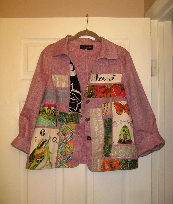 Hey, I found this really awesome Etsy listing at https://www.etsy.com/listing/182655577/pink-linen-upcycled-art-shirt-jacket