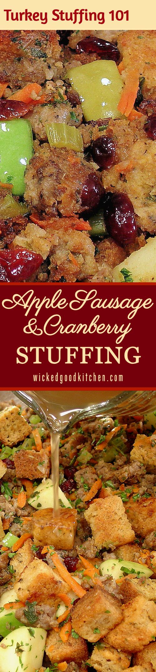 Five-Star Apple Sausage and Cranberry Stuffing ~ TURKEY STUFFING 101: Step-by-Step Tutorial with Photos & Instructions plus 10 Tips for Making Stuffing or Dressing ~ Fresh, savory, tart, sweet and festive, the perfect stuffing for #Thanksgiving or #Christmas #Holidays! Featured at the Allrecipes.com site with a 5-star rating and over 2,000 reviews. It will rock your ever-loving turkey stuffing world! (Gluten free option with bread recipes included.)