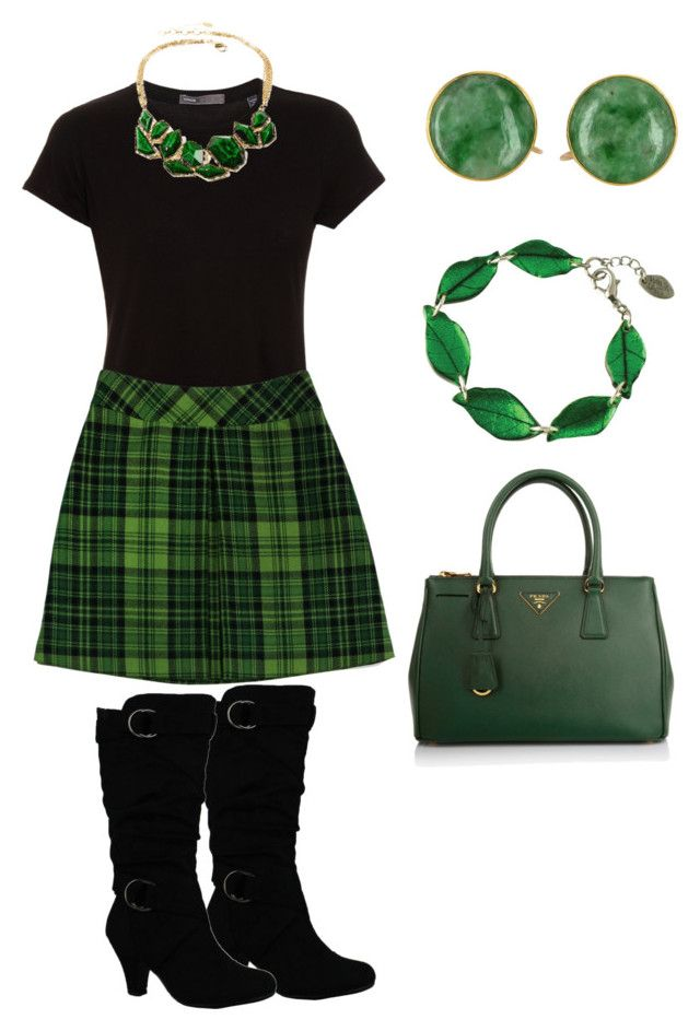 """St. Patrick's Day Outfit 2016"" by amanda-o-twomey ❤ liked on Polyvore featuring Vince, Anna Sui, Prada and Amrita Singh"