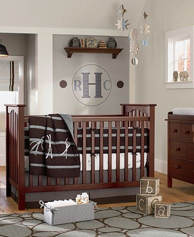 Sock Monkey Nursery | Pottery Barn Kids. I love the warm colors and accent with red!
