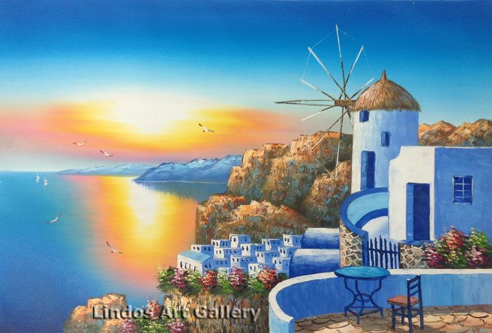 Windmill and Greek Seaview Oil Painting
