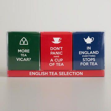 English Slogans Tea Selection, Set of 3, World Market.
