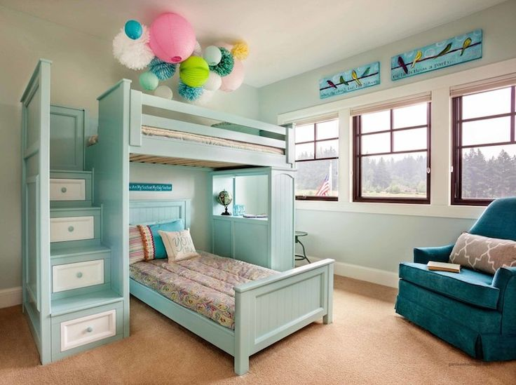 One of our most amazing bunk beds in two tone with stairs and student desk. See the options at http://kidsonlyfurniture.com