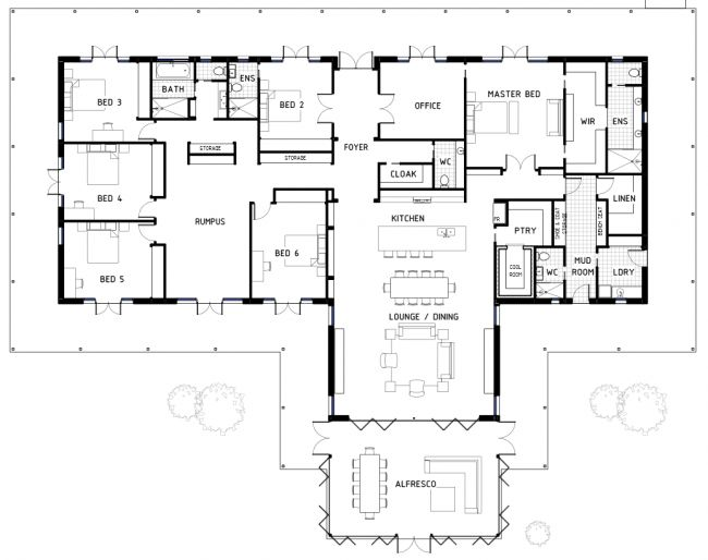 Perfect plan for family with lots of kids, or a vacation house to rent out in a popular area. Rumpus room gives kids their own area, master wing is huge, laundry on exterior, open kitchen/dining/linving, outdoor living/dining room (needs cooking area out there) I need to win the lottery and build this house.